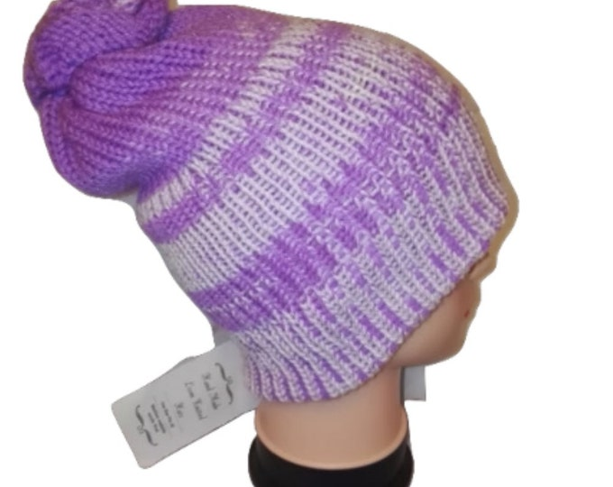 Lilac & White striped RETRO colour mix Handmade bobble slouch hat double knit extra thick  #retro #handmade #knitwear#Etsy