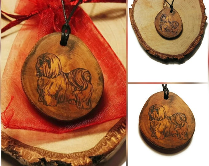 Lhasa Apso Yorkshire Terrier Chiwawa Necklace Charm Wooden Handmade Personalised Engraved Eco Friendly Engraved Gift Jewellery  #Etsy
