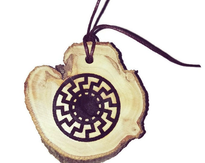 The Black Sun symbol Personalised Scented Gift Wooden Eco Friendly Engraved Charm or Key Fob  Pagan Wicca Nordic Viking  Retrosheep#Charm