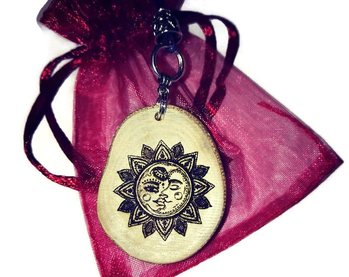 Sun Necklace Vintage Illistration Wooden Charm Brown Blue Silver Floral Eco Friendly Handmade Personalised Charms WoodJewellry  #Etsy #Charm