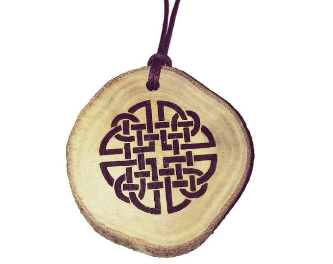 Celtic Quaternary Knot  Symbol Eco Friendly Wooden Natural Handmade Engraved Necklace Charm / Key Fob   neo Pagan Celtic Wiccan #Etsy #Charm
