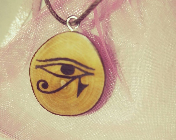Bespoke Eye of Horus All Seeing Eye Necklace / Earrings Wooden Charm Brown  Eco Friendly Handmade Personalised Charms Wood