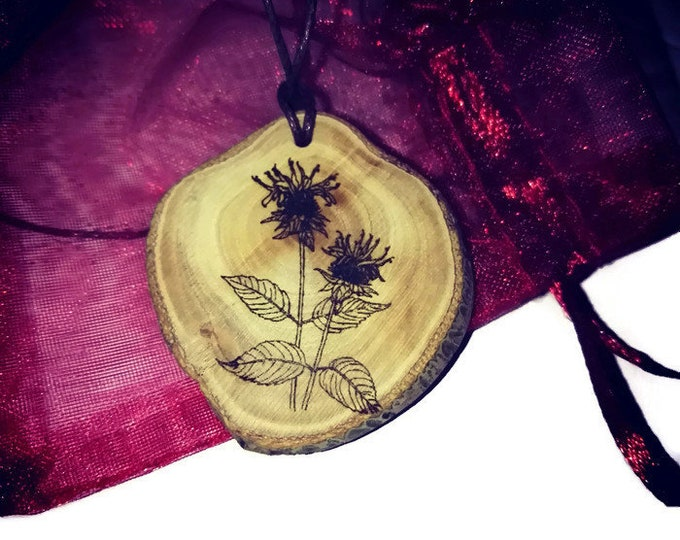 Bergamot Bee Balm Flowers Flower Floral Necklace Charm Natural Wooden Handmade Custom Personalised Engraved Eco Friendly Jewelry #Etsy #Gift
