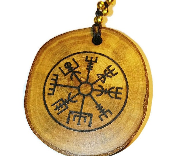 Vegvisir Nordic Compass Norse Protection symbol Personalised Scented Gift Wooden Engraved Charm Pagan Wicca Nordic Viking  Retrosheep#Charm