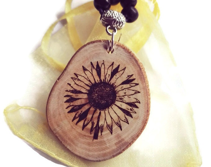 Sunflower  Flower Necklace Wooden Charm Brown Blue Silver Floral Eco Friendly Handmade Personalised Charms Wood Hand made Jewellry #Etsy