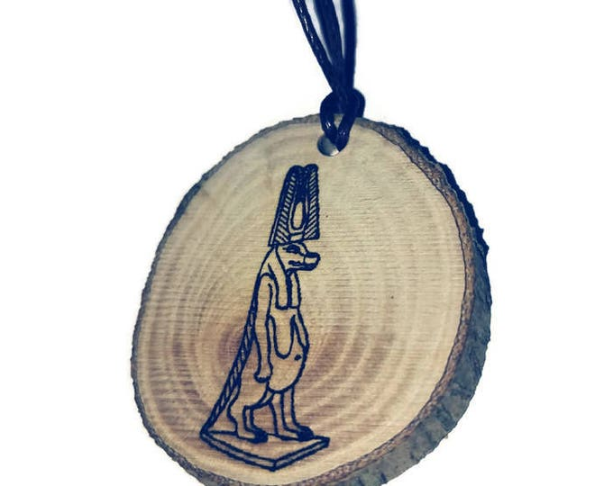 Typhon wife Anubis Egyptian God Sumerian Assyrian Hieroglyph Symbol Egypt Necklace Wooden Charm Handmade Personalised Charms Wood #jewellery
