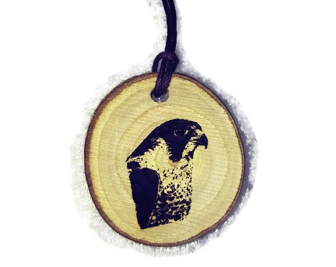 Peregrine Falcon Bird Of Prey Necklace Charm Wooden Handmade Personalised Engraved Eco Friendly Engraved Gift jewellery #GiftForHer#Etsy