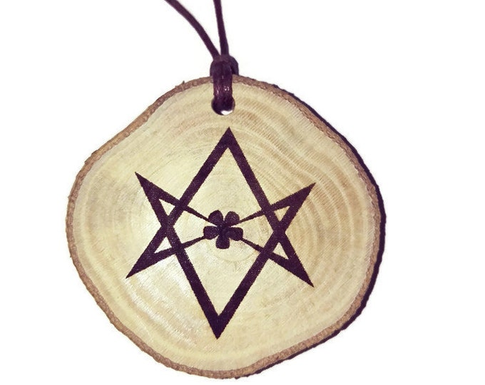 Aleister Crowley Unicursal Hexagram Scented Natural Eco Friendly Personalised wooden charm Wood Car Home Air Freshener Or Key fob#Etsy