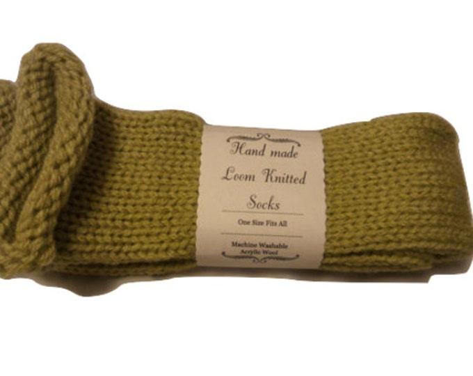 Olive Green Handmade Wool Unisex bed / sofa Knitted Socks Casual Novelty Custom Personalised #Socks