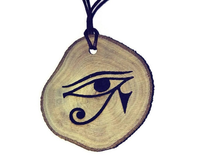 Eye of Horus protection all seeing eye Symbol Egyptian  Necklace Wooden Charm Handmade Personalised Charms Wood Hand made jewellery#Etsy
