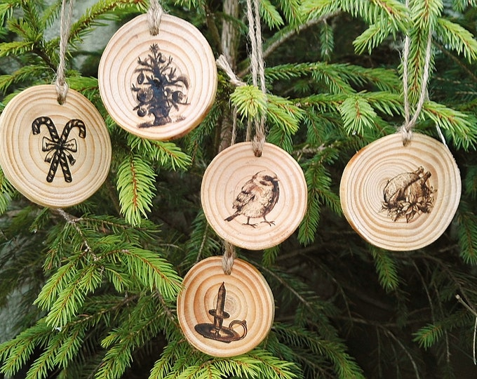 Personalised Engraved Christmas  Name Message Vintage Wooden Christmas Tree Decorations  Set #ChristmasTree