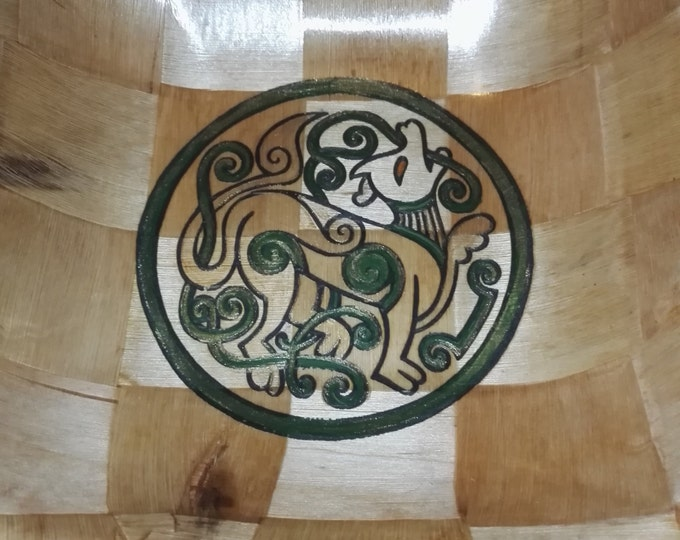 CELTIC DOG hand painted engraved NATURAL bamboo wooden bowl unique fruit / egg basket / nic naks Norse Pagan Wicca viking art #mythology