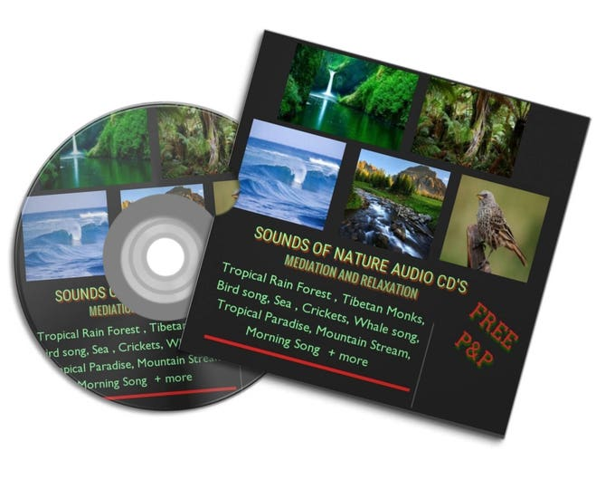 NATURE SOUNDS Meditation Relaxation Audio Cd's ocean waves tropical Rainforest sea whales Tibetan monks crickets bird song #CD #Etsy