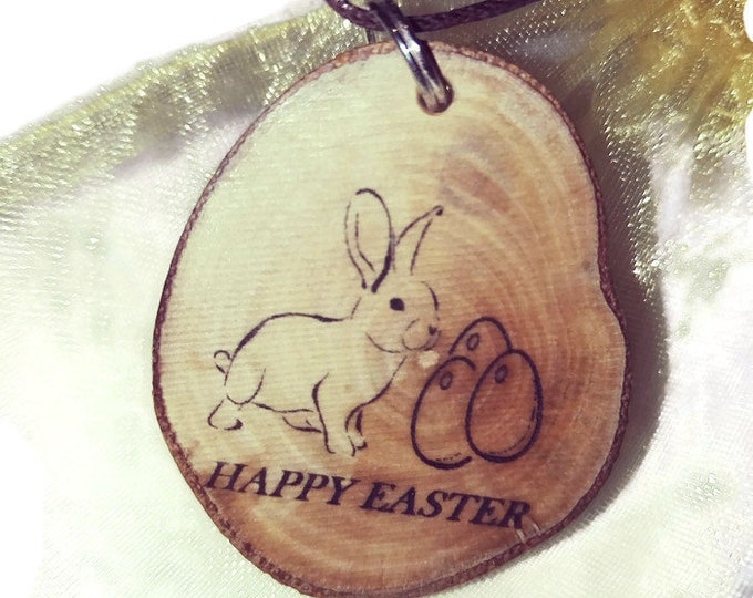 HAPPY EASTER bunny rabbit Eco Friendly Engraved Scented Natural wooden charm Wood  Car Home Air Freshener Engraved Gift For Her Personalised