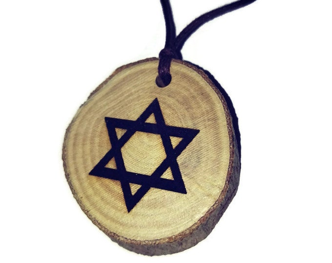 Star of David Magan Jewish Zionist  Necklace Charm Wooden Handmade Personalised Engraved Eco Friendly jewellery #GiftForHer #Etsy #Charm