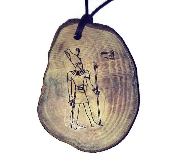 Atum Egyptian Deities God Perfection Egyptian Deities God Necklace Wooden Charm Handmade Personalised Charms Wood Hand made jewellery#Etsy