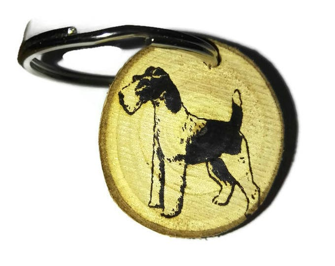 FOX TERRIER DOG Personalised Engraved Custom Gift Keyring Key Fob KeyFob Car Air Freshener  wooden Charm #FoxTerrier  Retrosheep#Charm
