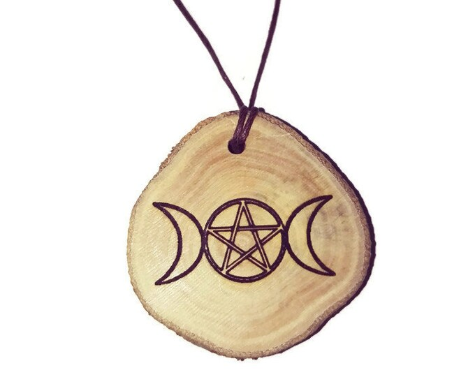 Bespoke Triple Goddess Necklace Charm Wooden Handmade Personalised Engraved Eco Friendly jewellery #GiftForHer  Retrosheep#Charm