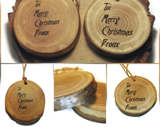 Personalised Engraved Christmas Birthday Anniversary Wood Eco Friendly Gift Tags #Personalised #Gifttag