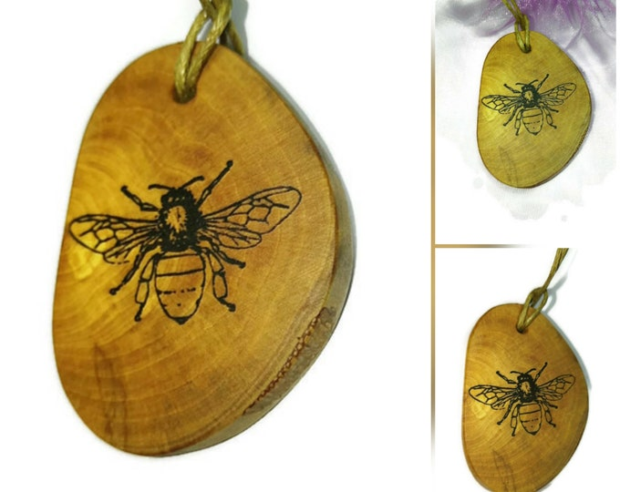 Bespoke Worker Honey Bee Insect  Necklace Charm Wooden Handmade Personalised Engraved Eco Friendly jewellery #GiftForHer  #Charm