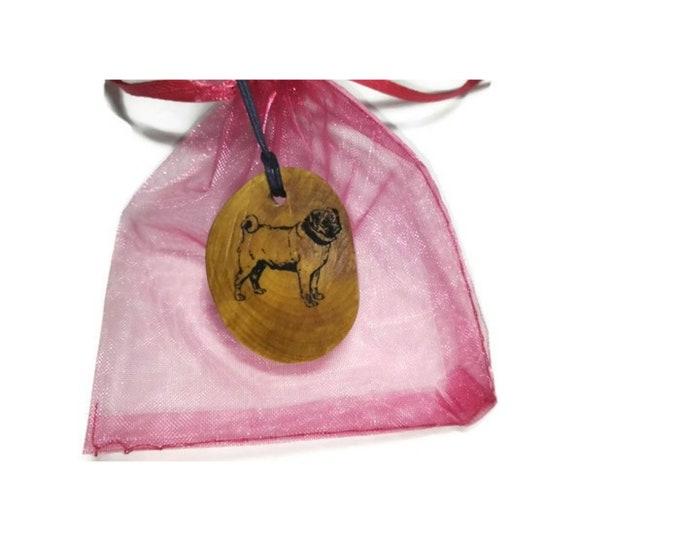 Bespoke Pug Dog Necklace Charm Wooden Handmade Personalised Engraved Eco Friendly Engraved Gift jewellery #GiftForHer  Retrosheep#Charm