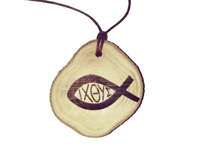 Ichthys Jesus Christ Religious Christan  Necklace Charm Wooden Handmade Personalised Engraved Eco Friendly jewellery #GiftForHer#Etsy