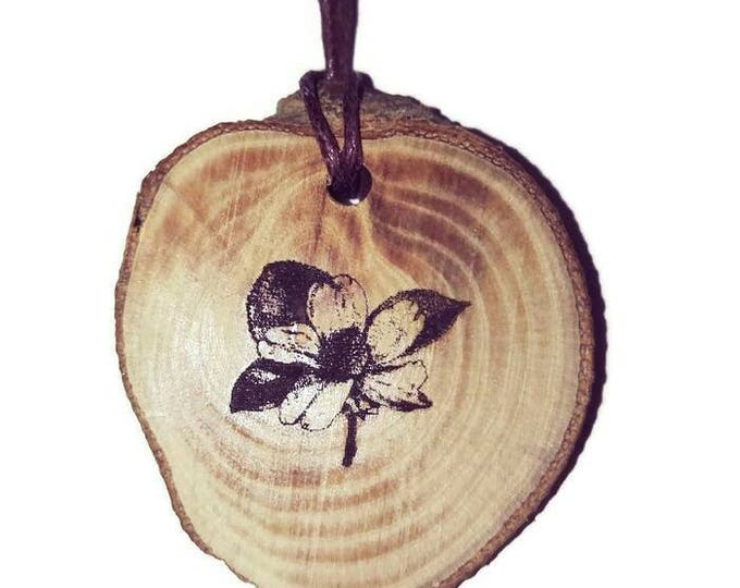 Bespoke Primrose Flower Primula Vulgaris Wild Flowers Wooden Natural Handmade Engraved Necklace Charm Can Be Personalised  Retrosheep#Charm