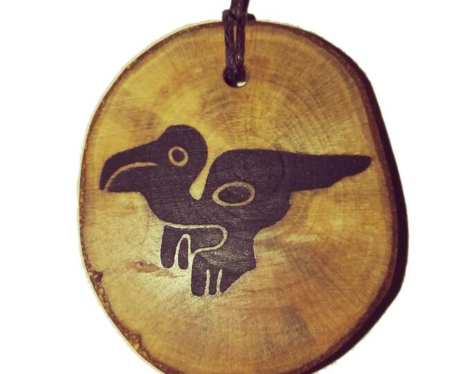 Bespoke Nazca Lines Peru Geoglyph Macaw Bird  Handmade Wooden Engraved Necklace Pendant Charm  #Nazca #Geoglyph