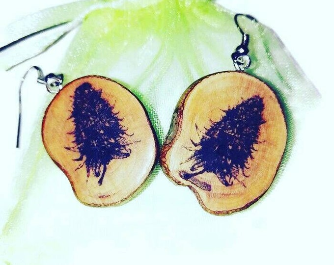 Bespoke Cannabis Marijuana Bud Earrings  Natural Earrings  Handmade Brown Wooden Boho Eco Friendly Jewelry Charm Engraved Wood #420