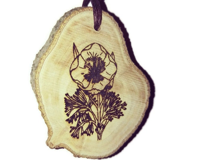 Anemone Flowers Flower Floral Necklace Charm Natural Wooden Handmade Custom Personalised Engraved Eco Friendly jewellery #GiftForHer #Etsy