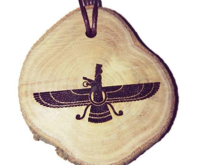 Sumerian Faravahar  Ferohar symbol of Zoroastrianism Fravashi guardian spirit Annunaki Necklace Personalised Charm Wooden Handmade Engraved
