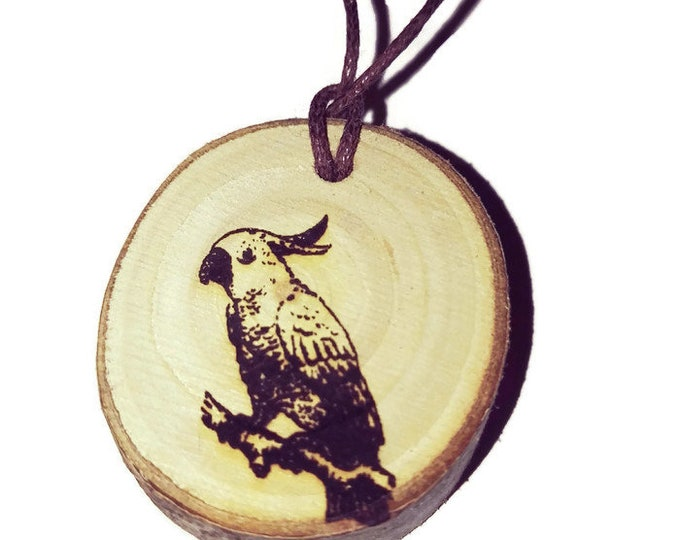 Cockatoo Parrot Bird  Necklace Charm Wooden Handmade Personalised Engraved Eco Friendly Engraved Gift jewellery #GiftForHer #Etsy #Charm