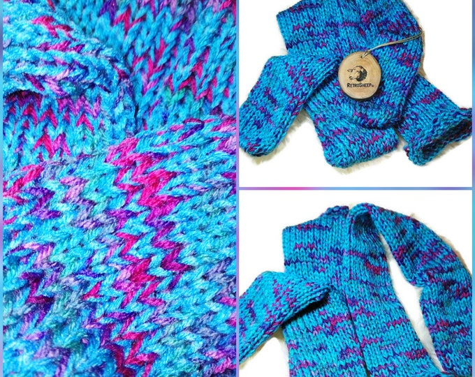 TURQUOISE RAINBOW mix  Funky Handmade Wool Unisex bed / sofa Retro Socks For Women Men #Socks