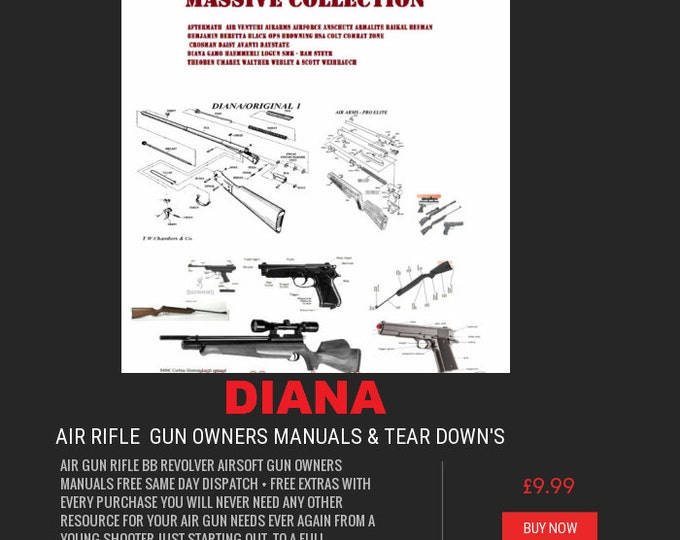 AIR RIFLE GUN owner's manual's rifle crossman bsa smk diana colt weihrauch weebly scot air arms pistol air soft + free targets#Etsy