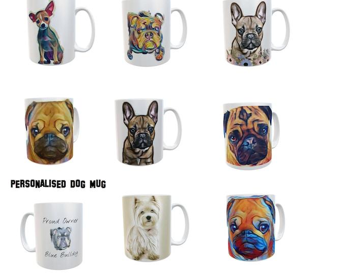 Dog Mug Gift Dog Breeds Pug Bulldog Terrier Retro Novelty Personalised White Ceramic 11oz Mug Customizable Mug Gift Photo Logo or Text #Dogs