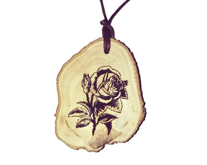 Rose Flowers Flower Floral Necklace Charm Natural Wooden Handmade Custom Personalised Engraved Eco Friendly jewellery #GiftForHer#Etsy