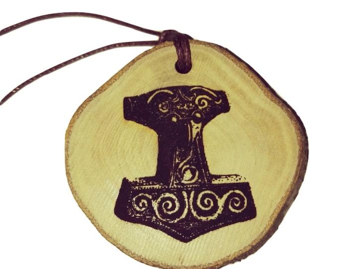 Bespoke Thors Hammer Mjolnir symbol Nordic Viking Rune Wooden Natural Handmade Engraved Necklace Charm Can Be Personalised  Retrosheep#Charm