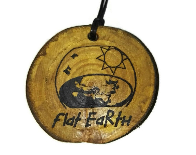 Bespoke Flat Earth Society FlatEarther Handmade Wooden Engraved Necklace Pendant Charm or Keyring  #flatearth #flatearther