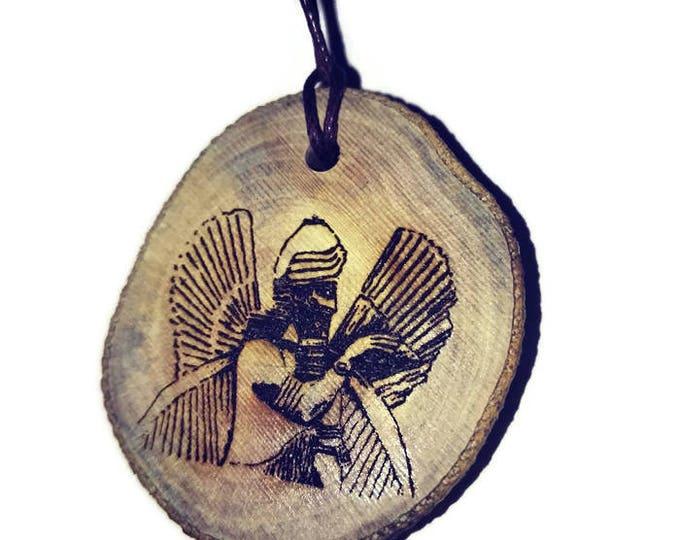 Bespoke Sumerian Annunaki God Sumeria  Necklace Wooden Charm Handmade Personalised Charms Wood Hand made jewellery  Retrosheep#Charm