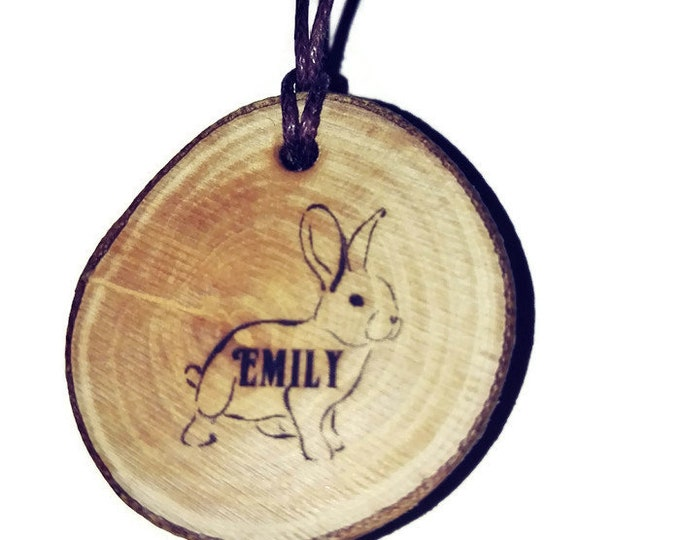Easter Bunny Rabbit Personalised Name Eco Friendly Engraved Scented Natural wooden charm Wood  Car Home Air Freshener Engraved Gift For Her