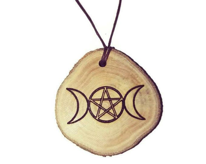 TRIPLE GODDESS MOON Engraved Scented Natural  wooden charm Wood  Car Home Air Freshener Engraved Gift For Her Can be Personalised#Etsy