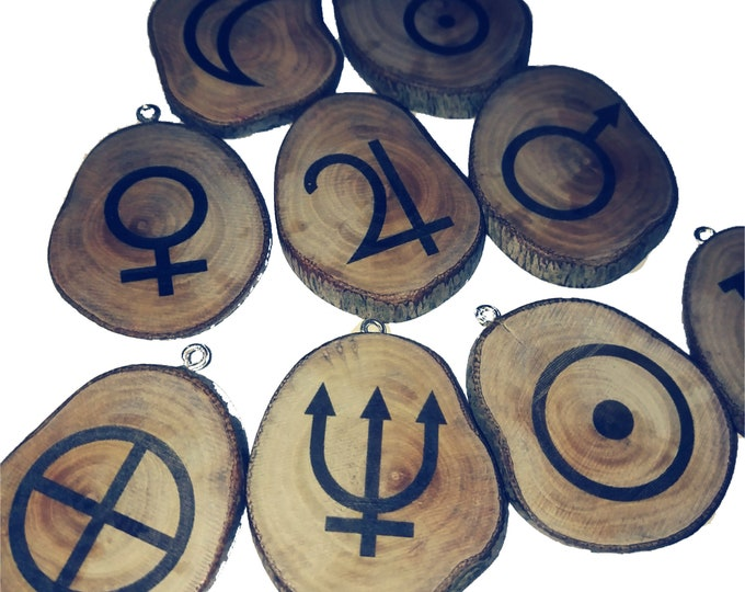 Celestial Symbol Venus Sun Planet Moon Uranus Venus Necklace Wooden Charm Brown Eco Friendly Handmade Personalised Charms Jewellery #Etsy