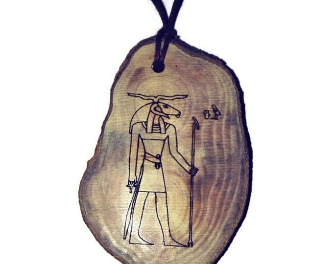 Khnum God of the source of the Nile River Egyptian Deities God Necklace Wooden Charm Handmade Personalised Charms Wood Hand made jewellery