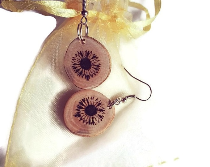 Bespoke Sunflower Earrings Handmade Brown Wooden Eco Friendly Unique Floral Boho Charm  Engraved  Wood Flower Jewellery