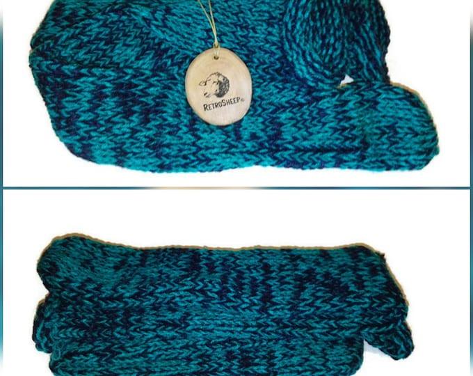 Navy Green Mix Handmade Hand Knitted Wool Unisex Socks #Socks