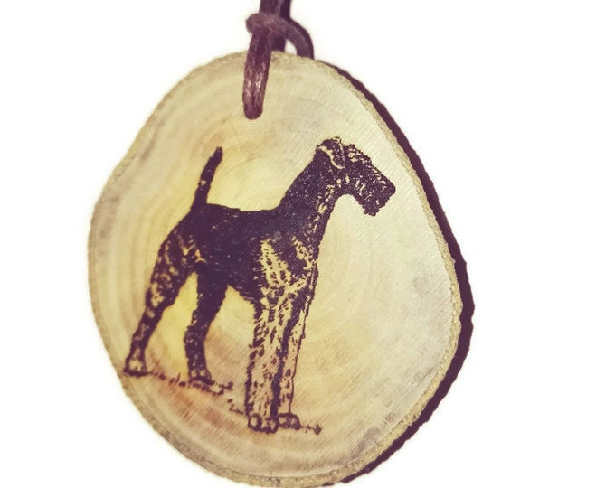 Airedale Terrier Dog Necklace Charm Wooden Handmade Personalised Engraved Eco Friendly Engraved Gift jewellery #GiftForHer  #Etsy #Charm