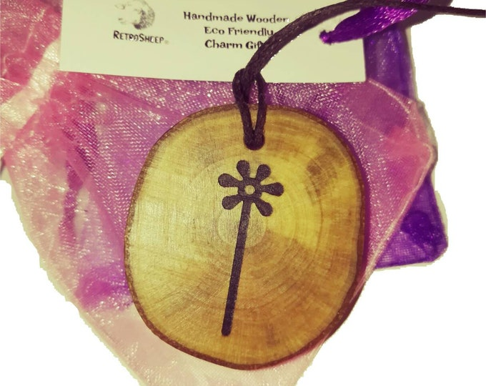 Bespoke Nazca Lines Geoglyph Flower Floral Handmade Wooden Engraved Necklace Pendant Charm  #Nazca