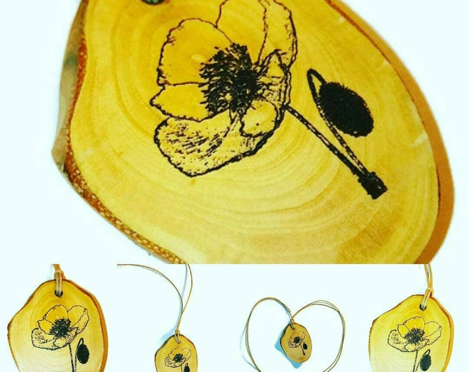Poppy Floral Necklace Charm Natural Wooden Handmade Hand Painted Custom Personalised Engraved Eco Friendly jewellery #GiftForHer #Etsy