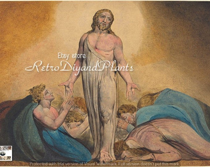 Retrosheep WILLIAM BLAKE Christ Appears to His Disciples after the Resurrection ART  instant download #Etsy