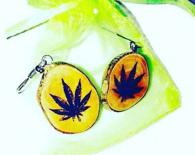 Bespoke Cannabis Marijuana Earrings  Natural Earrings  Handmade Brown Wooden Boho Eco Friendly Jewelry Charm Engraved Wood  #420 #Cannabis